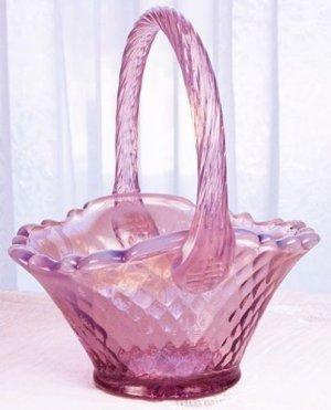 Blush ROSE Opalescent FENTON Glass Oval Panel Basket