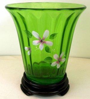 FENTON Art Glass Jolly Green Vaseline Handpainted Signed Flip Vase w/ Black BASE