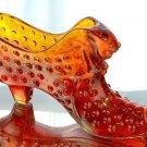 FENTON Glass ORANGE HOBNAIL SLIPPER Shoe Figurine Slice