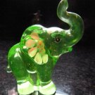 FENTON Glass Vaseline Key Lime Green Elephant Figurine GLOWS ~Uranium Signed