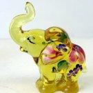 FENTON Glass BUTTERCUP YELLOW Elephant Figurine 5158 ZO Handpainted Signed
