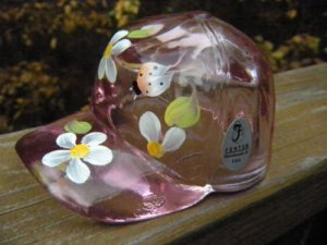 Cute!!! FENTON Glass Ball Cap Rose Pink Flowers Bug Figurine Baseball NEW IN BOX