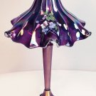 "FENTON Glass Floral 17"" LAMP ""Amethyst CARNIVAL"" RUFFLES SIGNED NEW IN BOX"