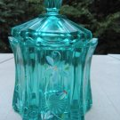 FENTON Glass VULCAN CANDY BOX JAR Robins EGG BLUE Handpainted Signed New in BOX