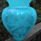 "FENTON CAMEO Art Glass CARVED ""BUBBLE MAGIC""  Designer PROOF BLUE VASE Fairy"
