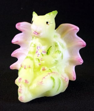 NIB FENTON Art Girl DRAGON Handpainted Glass Signed Cute Figurine Glitter