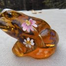 Autumn GOLD Signed FENTON Art Glass FROG Figurine