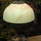 "FENTON CAMEO Glass Burmese CARVED ""Dragonfly & Fern"" LAMP Designer Proof Signed"