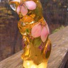 FENTON ART Glass BUTTERCUP YELLOW GROOMING CAT Figurine Handpainted Signed