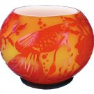 "FENTON Burmese CAMEO Art Glass CARVED Rose ""FISH BOWL"" DEVELOPMENTAL PROOF"
