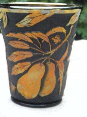 "FENTON Cameo Glass CARVED ""Pear"" ARTIST Proof VASE Black Satin GOLD Signed"