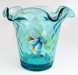 FENTON Art Glass Robins Egg BLUE New inBox Handpainted & Signed FLIP Vase 4751QB