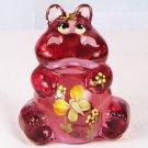 FENTON Art Glass HIPPO Figurine PINK Blush Rose Handpainted & Signed 5063 AF