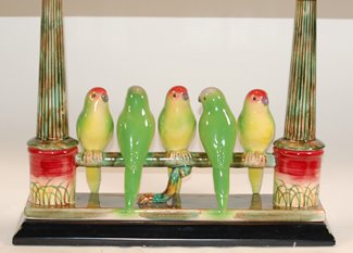 22 Quot High Jeanne Reed Parakeet Budgies Porcelain Table Lamp