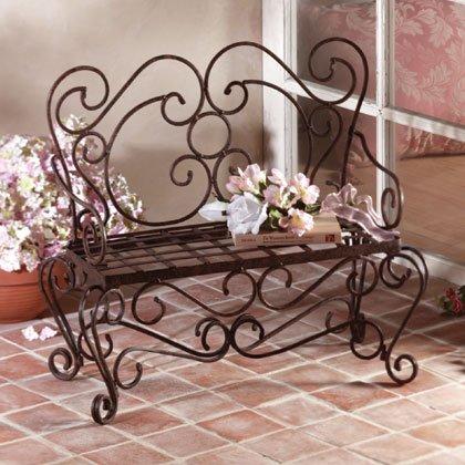 Rustic Metal Planter Bench