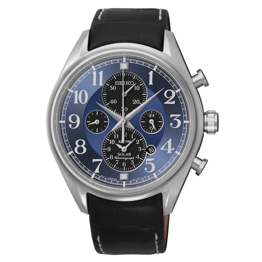New Seiko SSC209 Solar Alarm Chronograph Leather Band Blue Dial Men's Watch