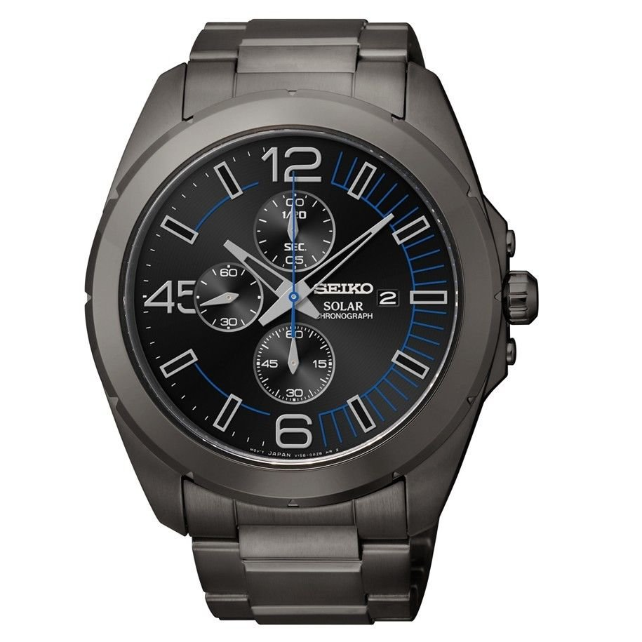 Seiko SSC203 Solar Black Ion Plated Stainless Steel Chronograph Men's Watch NEW