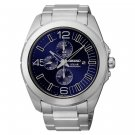 Seiko Men's Classic Stainless Steel Blue Dial Chronograph Solar Watch SSC201