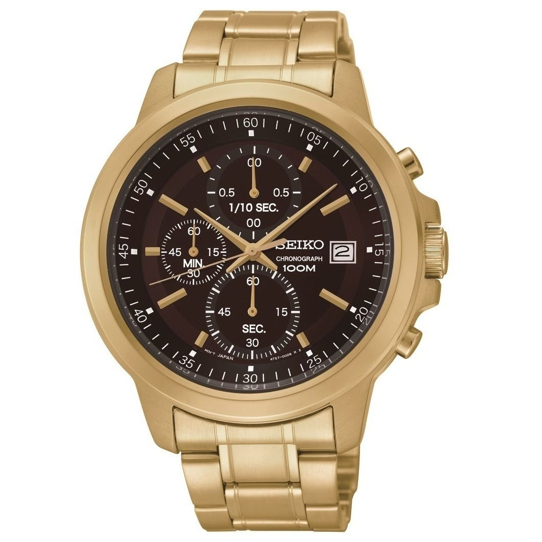 New Seiko SKS468 Chronograph Brown Dial Gold Tone Stainless Steel Men's Watch