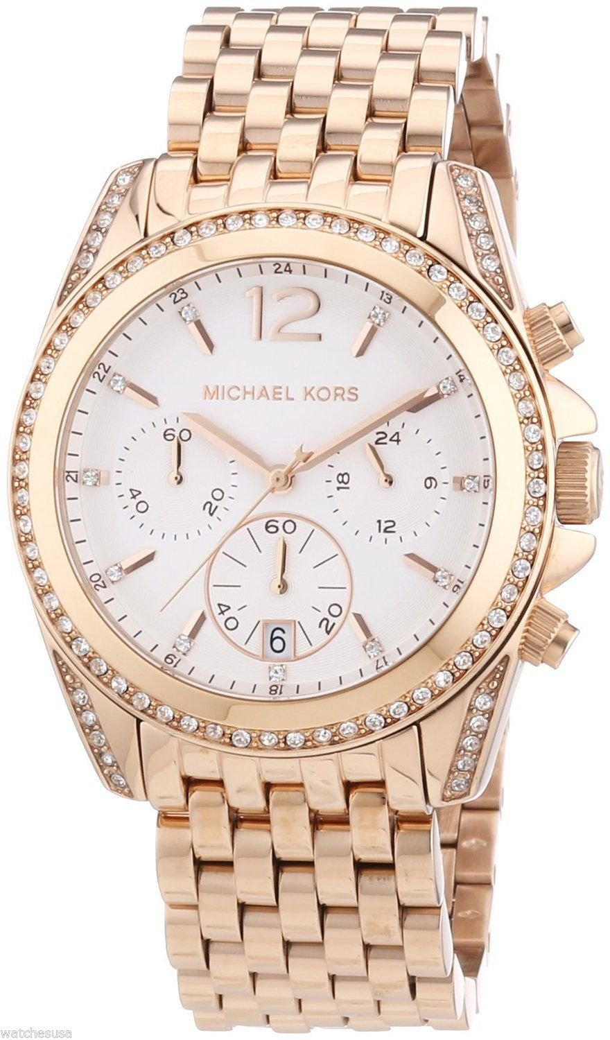 MK5836 BRAND NEW MICHAEL KORS PRESSLEY LADIES CHRONOGRAPH ROSE GOLD 39MM WATCH