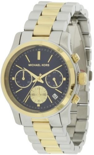 Michael Kors MK6165 Runway Chronograph Blue Dial Women's Two Toned Steel Watch