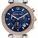 NEW MICHAEL KORS MK6141 Chronograph Pave Parker Two-Tone & NAVY Dial Glitz Watch