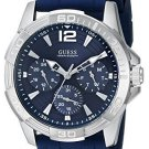 GUESS Men's U0366G2 Iconic Multi-Function Silver-Tone Watch/Blue Silicone Strap