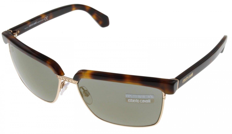 Roberto Cavalli Sunglasses Unisex Brown Havana Rectangular 100% UV RC836 52E