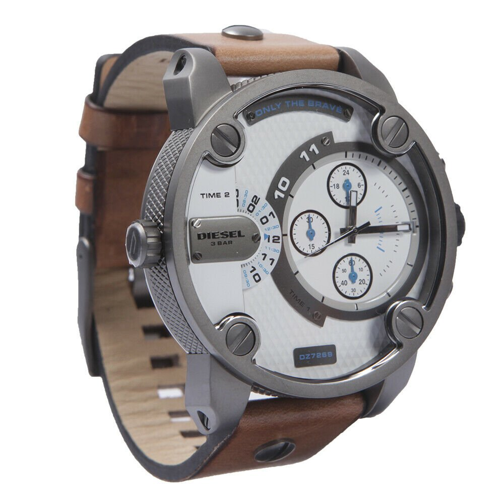 Diesel Men's DZ7269 Little Daddy Dual Time Chronograph Brown Leather Band Watch NO BOX