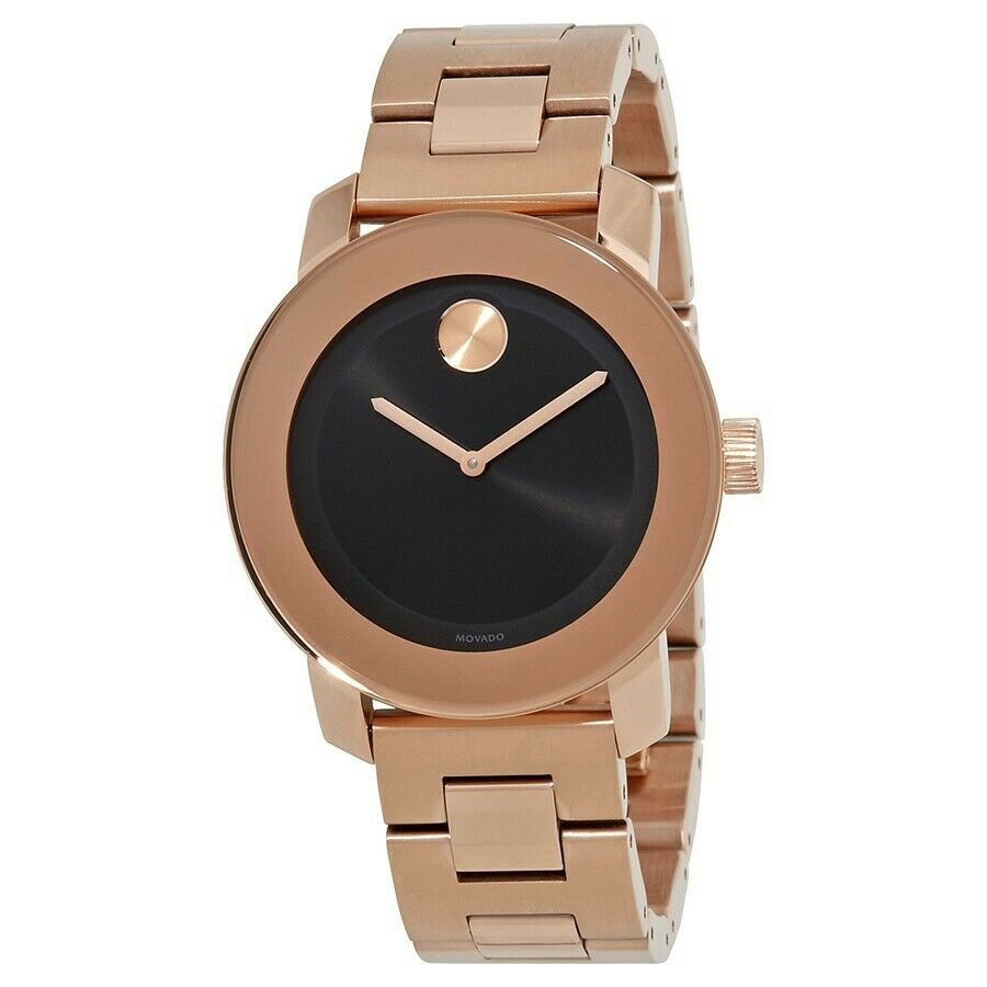 Movado Bold Black Sunray Dial Unisex Rose Gold Tone Watch 3600463