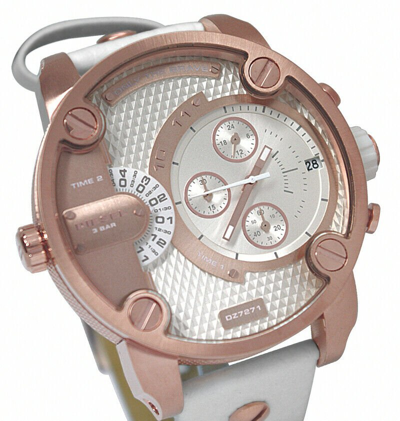 Diesel DZ7271 Chronograph White Leather Band  White/Rose Gold Dial Unisex Watch