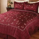 Burgundy Red Handmade Embroidered Quilt and Shams Set King