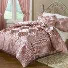 Luxury 8-pc Soft Pink Elegant Satin Complete Comforter  Ensemble Set Queen