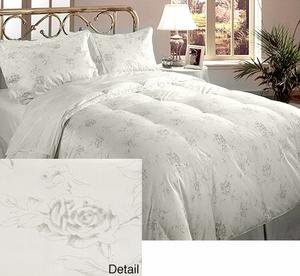 Crown Jewel Luxurious 700 tc 5 Piece Goose Down Comforter Set White Silver Queen