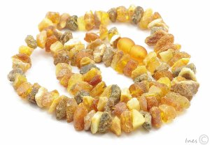 Healing Baltic Amber Necklace. Raw Unpolished Amber Beads.