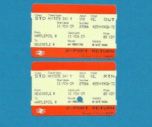 BRITISH RAIL PAIR OF TICKETS HARTLEPOOL NEWCASTLE 2009