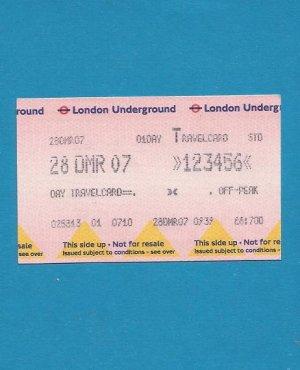 LONDON UNDERGROUND ONE DAY TRAVELCARD 2007