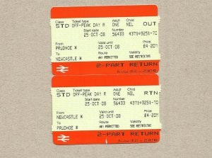 BRITISH RAIL PAIR OF TICKETS PRUDHOE NEWCASTLE 2008