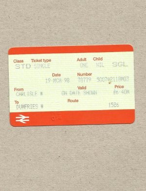 BRITISH RAIL ENGLAND TO SCOTLAND CARLISLE DUMFRIES TICKET 1998