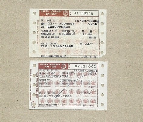 INDIA INDIAN RAIL TICKETS WESTERN RAILWAYS