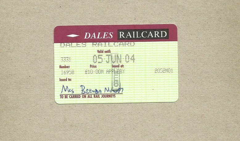 DALES RAILCARD ANNUAL SETTLE CARLISLE RAILWAY DISCOUNT CARD 2004