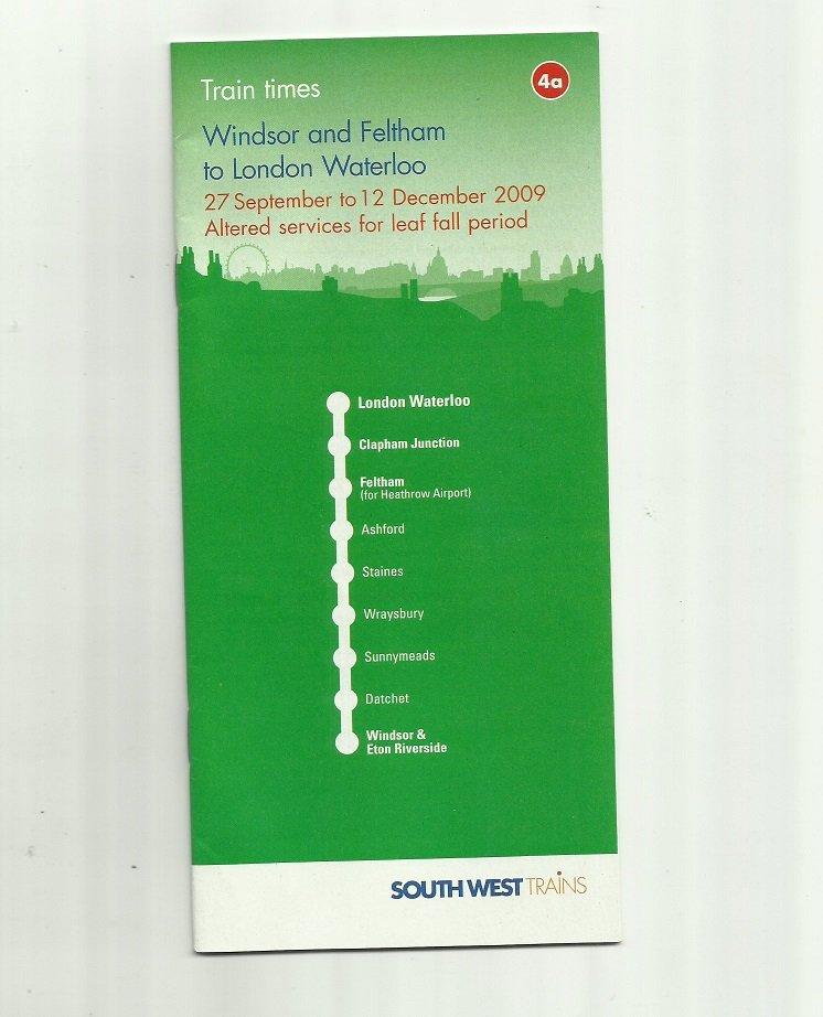 SOUTH WEST TRAINS UNITED KINGDOM WINDSOR LONDON WATERLOO TIMETABLE 2009