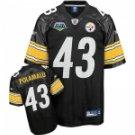 Troy Polamalu #43 Black Jersey w/Super Bowl Patch #PS026