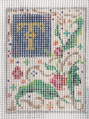 FLORENTINE INITIAL hand-painted canvas with Bonus thread and beads
