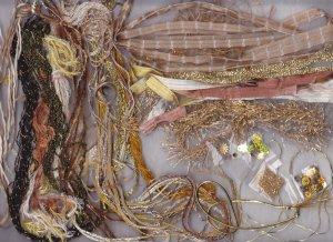 GLISTENING GOLD Fibers & Embellishments for Scrapbooking, Ornament Making