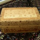 Handmade Wooden Jewelry Box with Trees and Stars