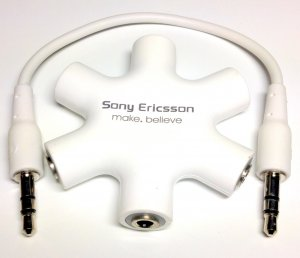 Original Genuine Sony Ericsson make believe Audio Splitter Cable Mix music connect up to 5 headphone