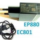 Original Sony EP880 USB Quick Charger EU Plug + EC801 Charge Data Cable Xperia