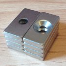 8pcs N52 block 20mm*10mm*3mm counterbore hole 9mm 4mm Neodymium Permanent Magnet
