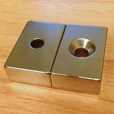 2x N52 block 30mm*20mm*10mm counterbore hole 11mm 6mm Neodymium Permanent Magnet